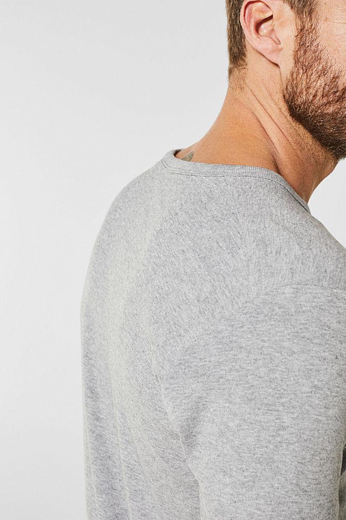 Camiseta de canalé en mezcla de algodón, MEDIUM GREY, detail image number 1