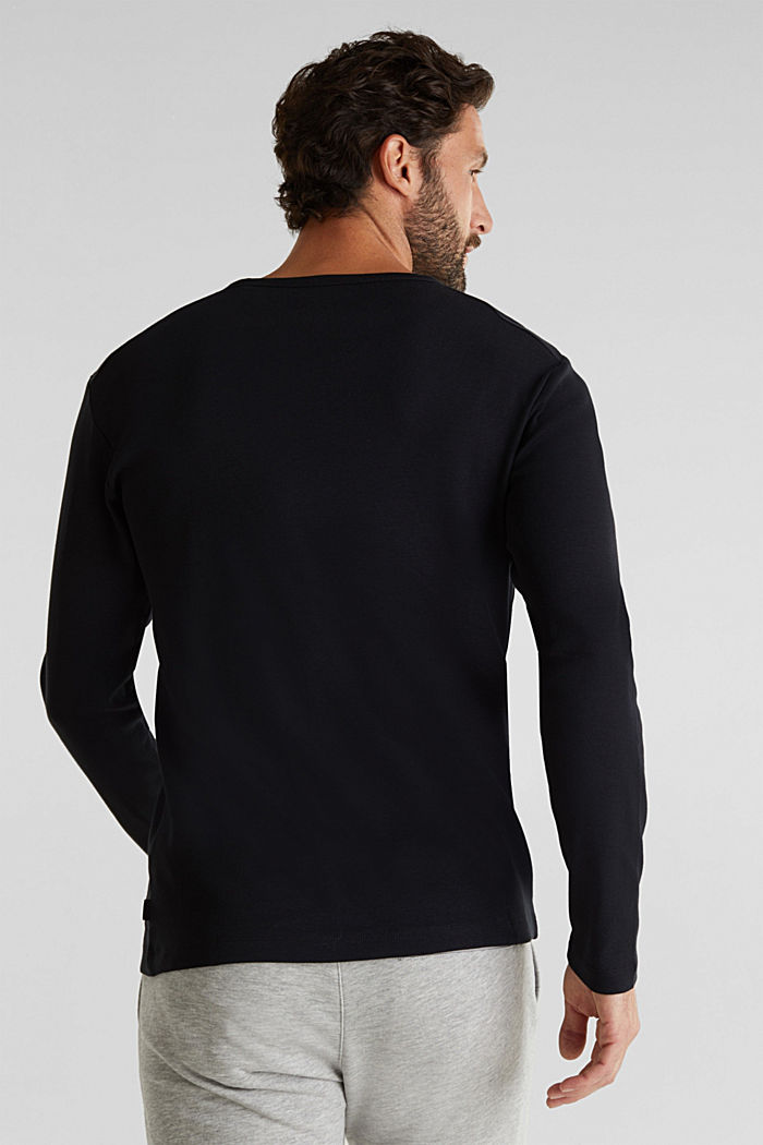Ribbed long sleeve top in 100% cotton, BLACK, detail image number 3