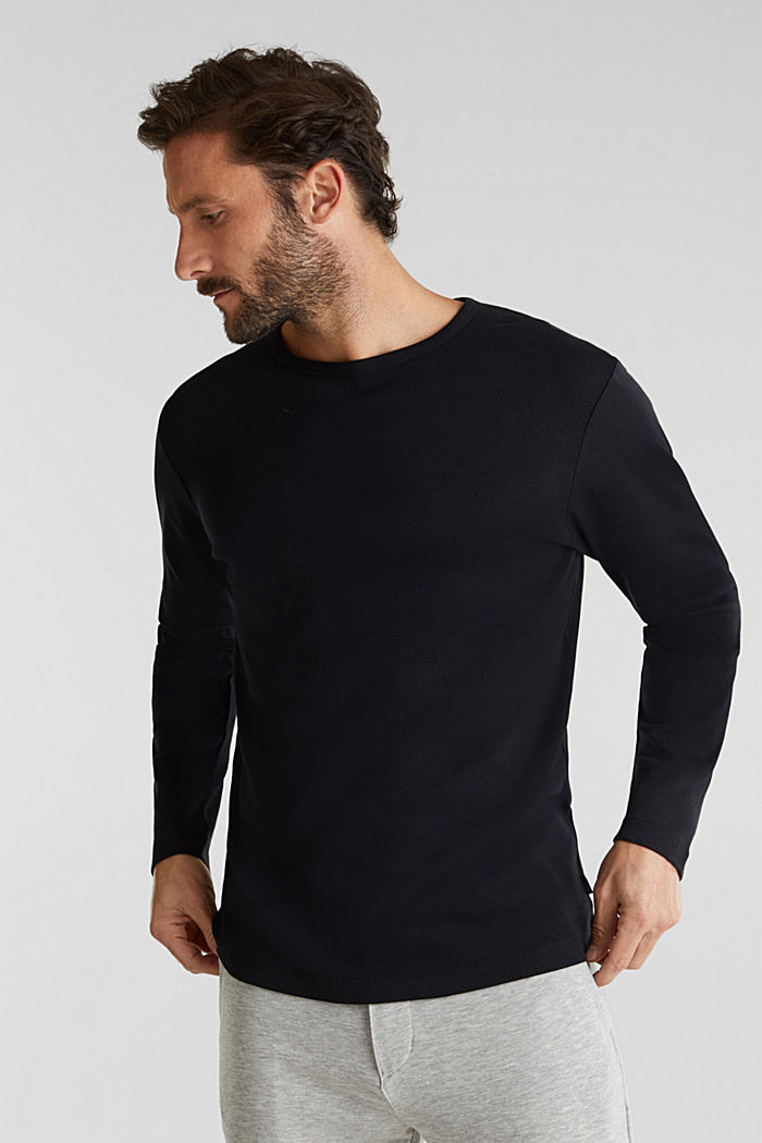 Ribbed long sleeve top in 100% cotton, BLACK, detail image number 4