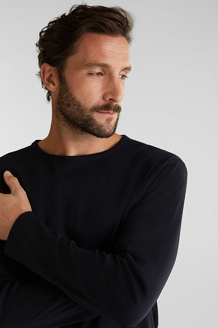 Ribbed long sleeve top in 100% cotton, BLACK, detail image number 1