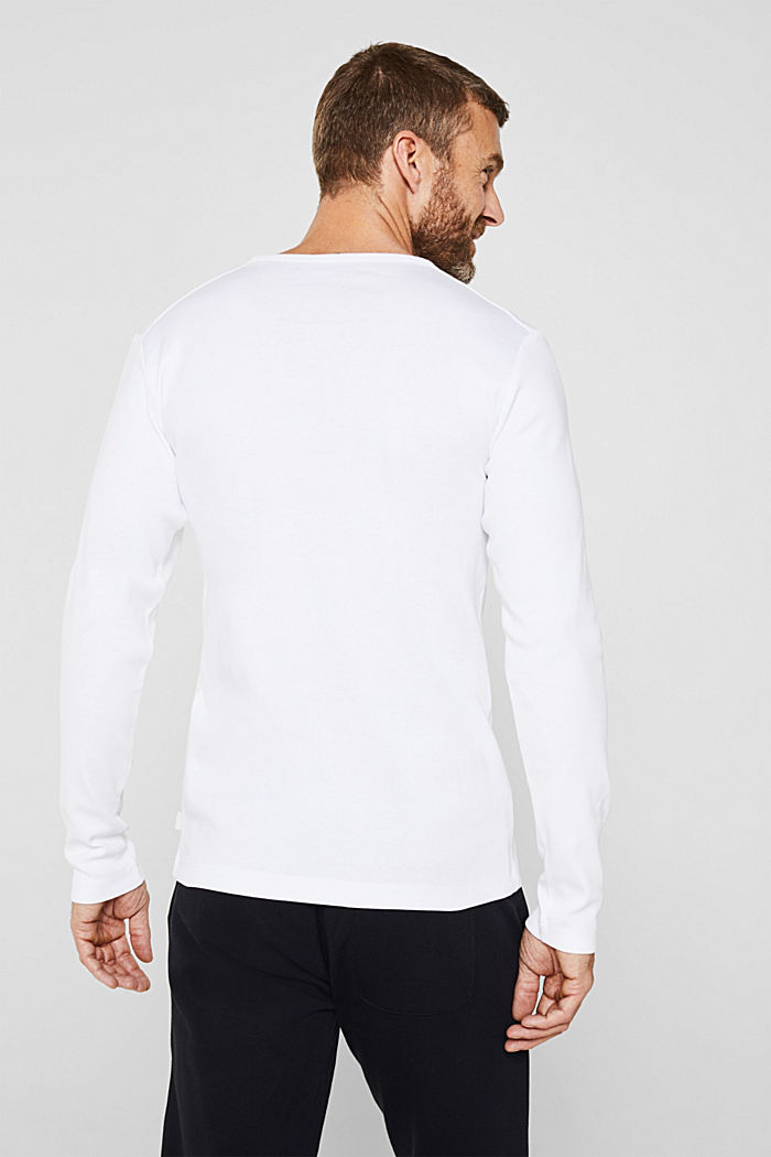 Ribbed long sleeve top in 100% cotton, WHITE, detail image number 3