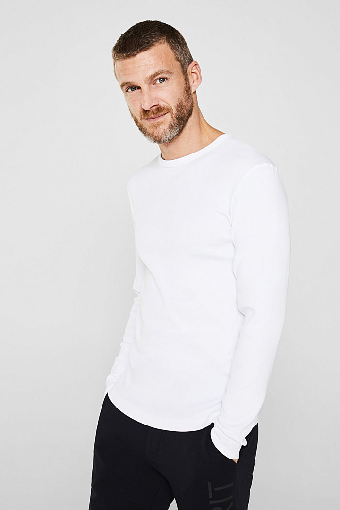 Ribbed long sleeve top in 100% cotton, WHITE, detail image number 4