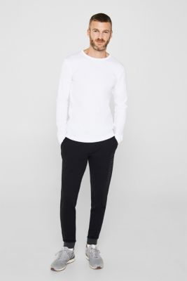 Ribbed long sleeve top in 100% cotton, WHITE, detail