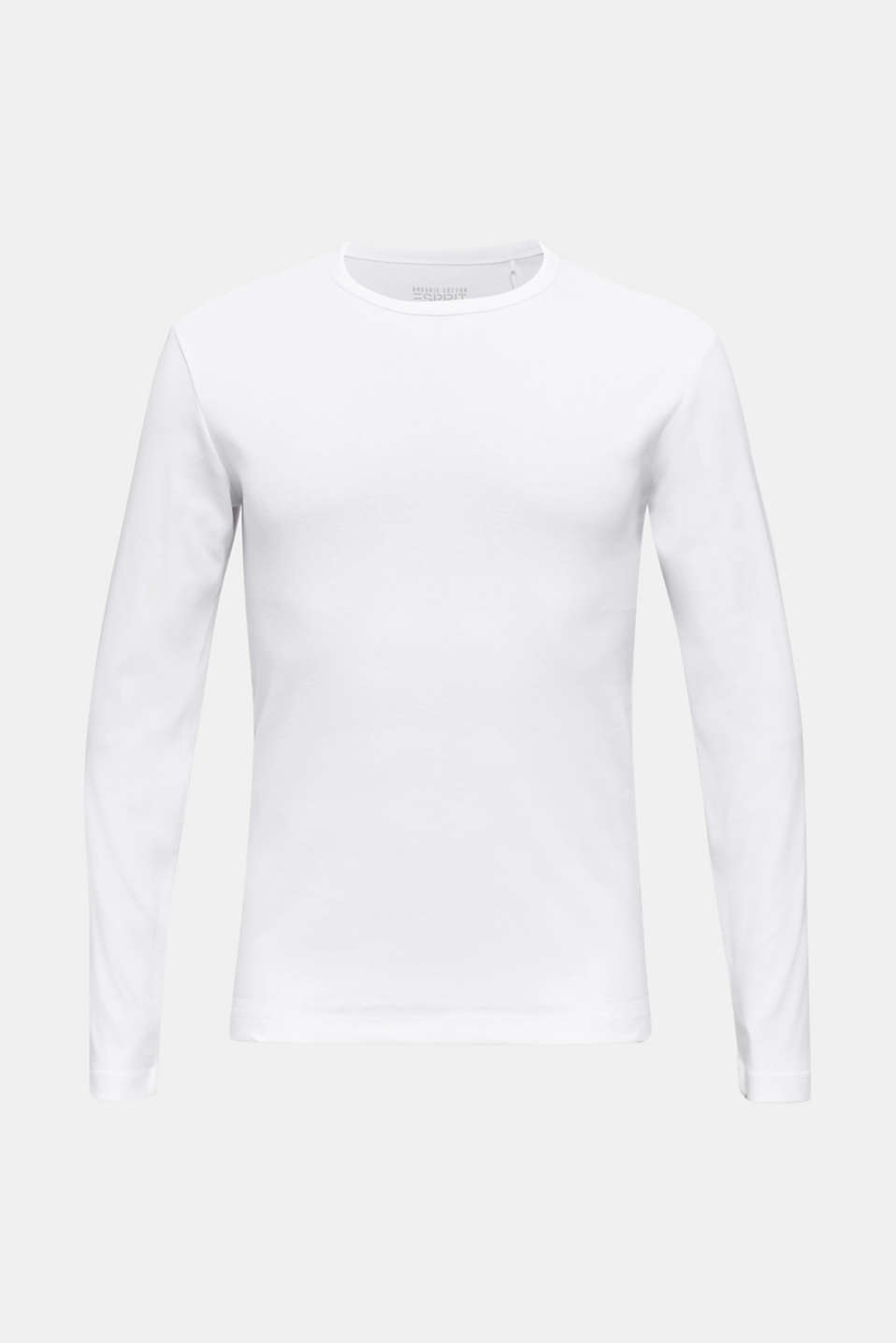 Ribbed long sleeve top in 100% cotton, WHITE, detail image number 6