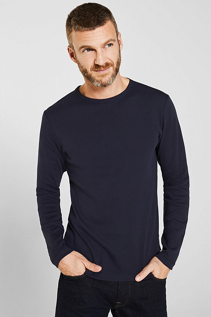 Ribbed long sleeve top in 100% cotton, NAVY, detail image number 0