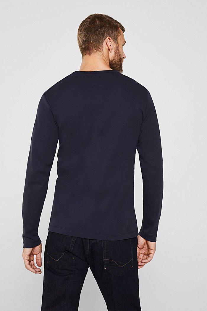 Ribbed long sleeve top in 100% cotton, NAVY, detail image number 3