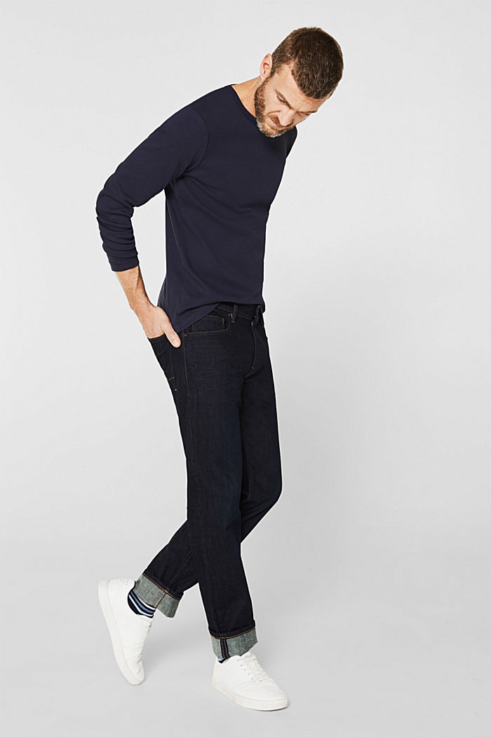 Ribbed long sleeve top in 100% cotton, NAVY, detail image number 2