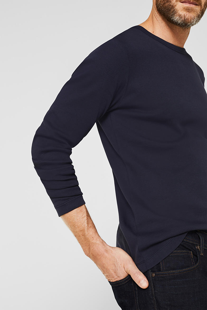 Ribbed long sleeve top in 100% cotton