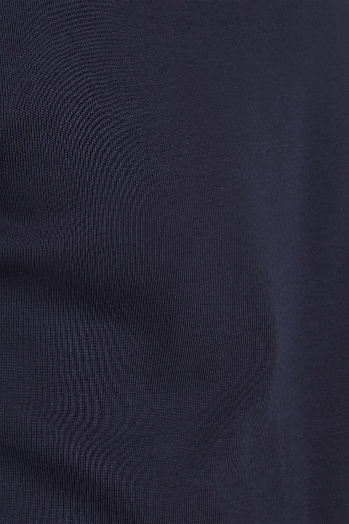 Ribbed long sleeve top in 100% cotton, NAVY, detail image number 4