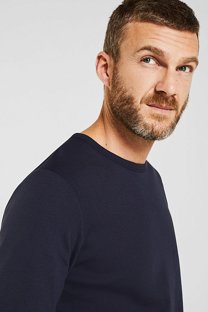 Ribbed long sleeve top in 100% cotton, NAVY, detail image number 5