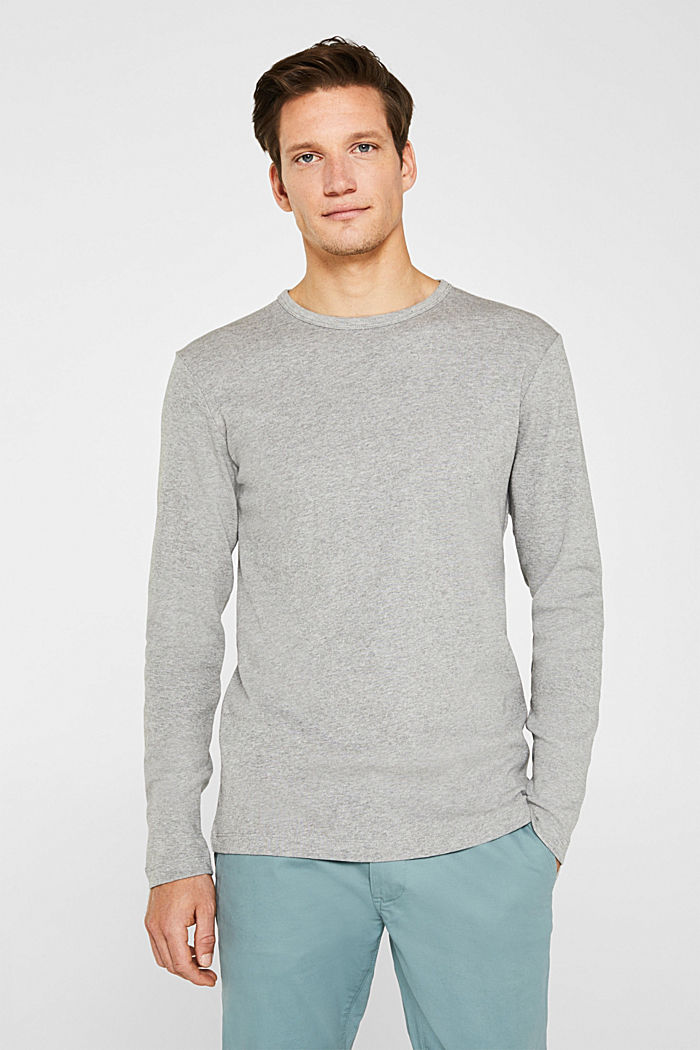 Ripp-Longsleeve aus Baumwoll-Mix, MEDIUM GREY, detail image number 0