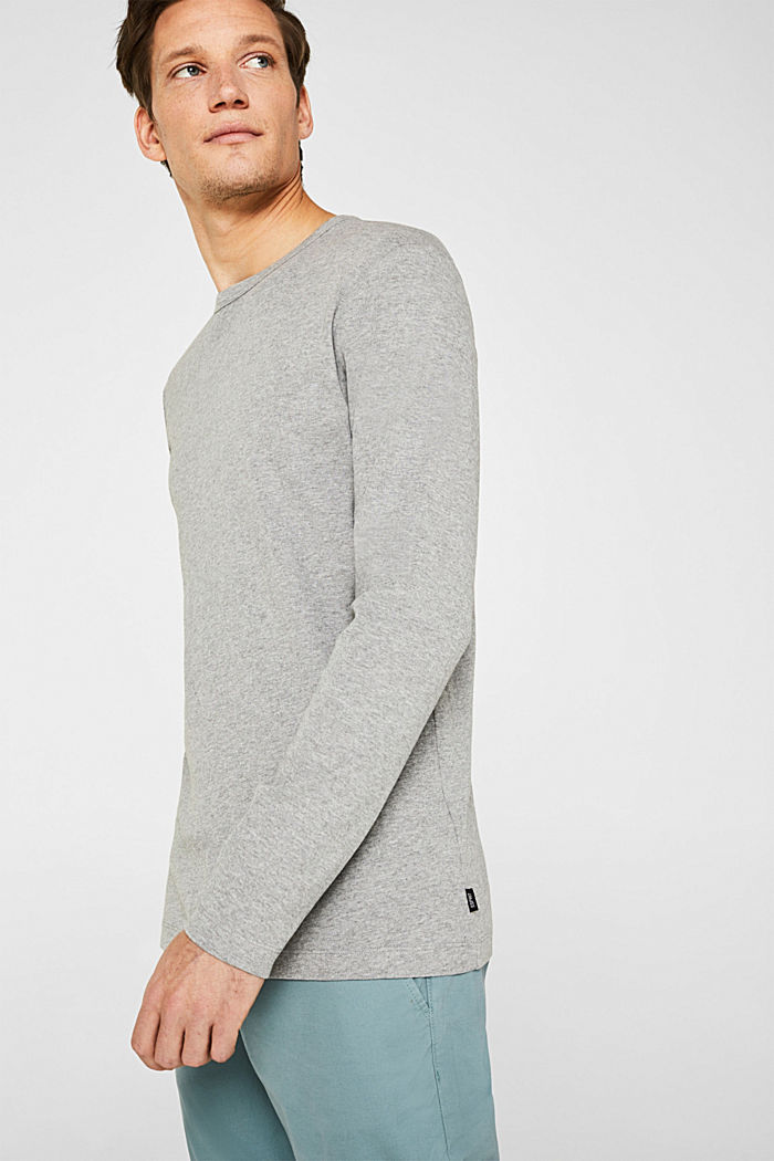 Ribbed long sleeve top in blended cotton
