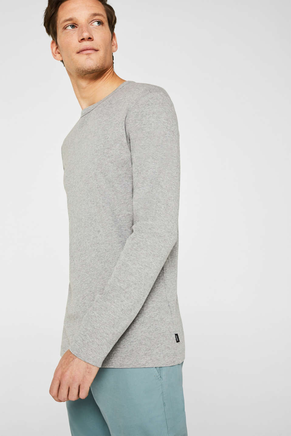 Ribbed long sleeve top in blended cotton, MEDIUM GREY 5, detail image number 3
