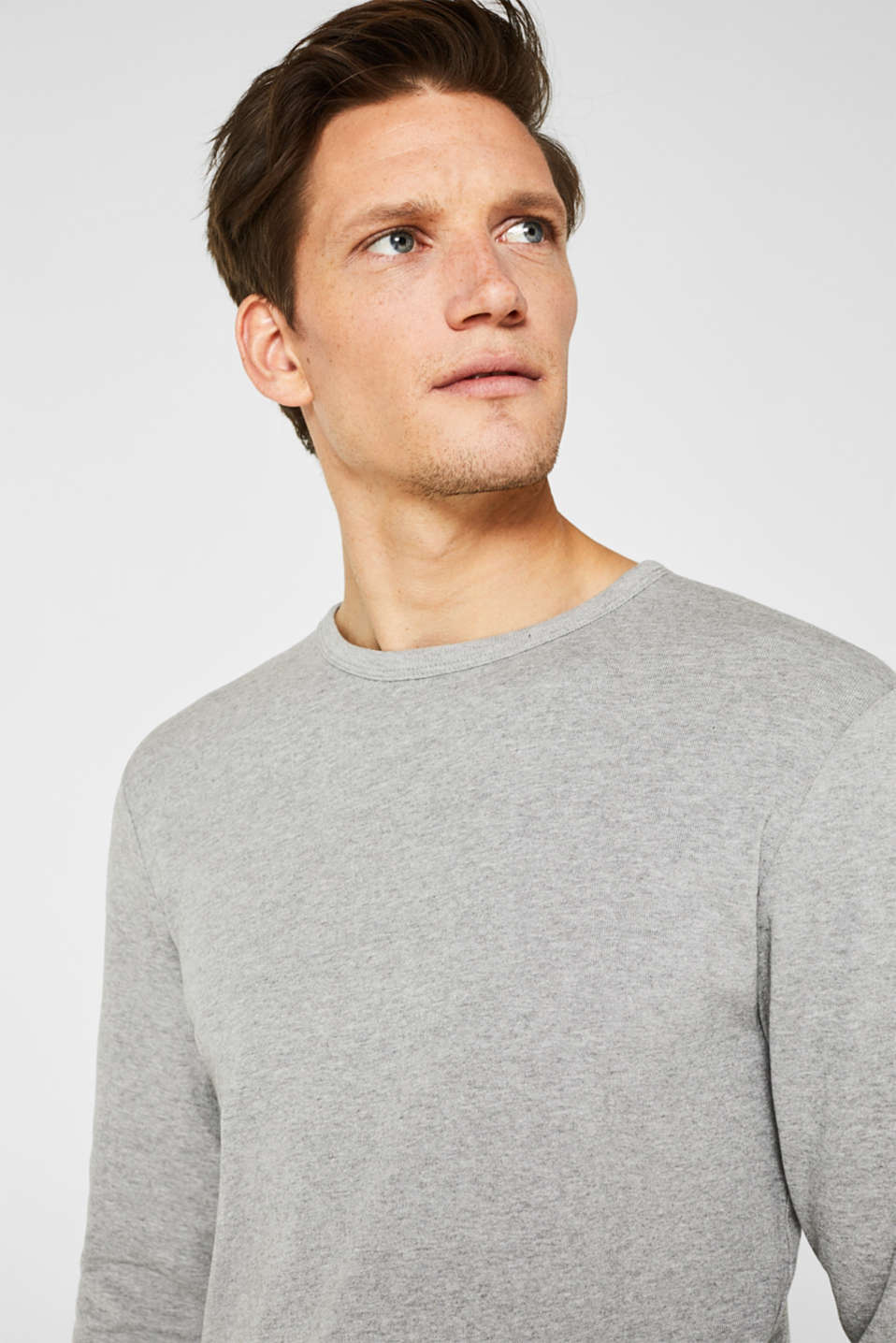 Ribbed long sleeve top in blended cotton, MEDIUM GREY 5, detail image number 5