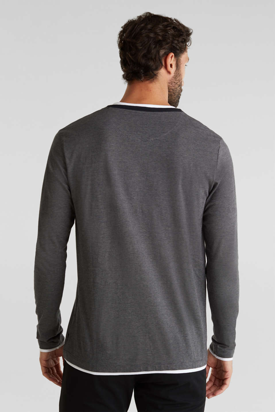 Long sleeve jersey top in 100% cotton, BLACK 3, detail image number 3