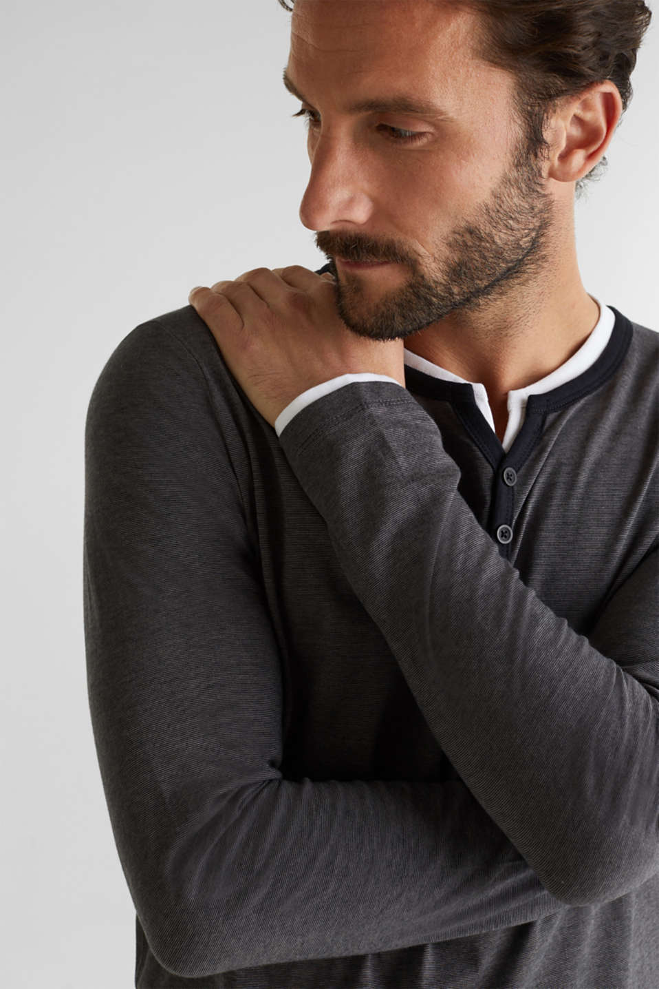 Long sleeve jersey top in 100% cotton, BLACK 3, detail image number 5