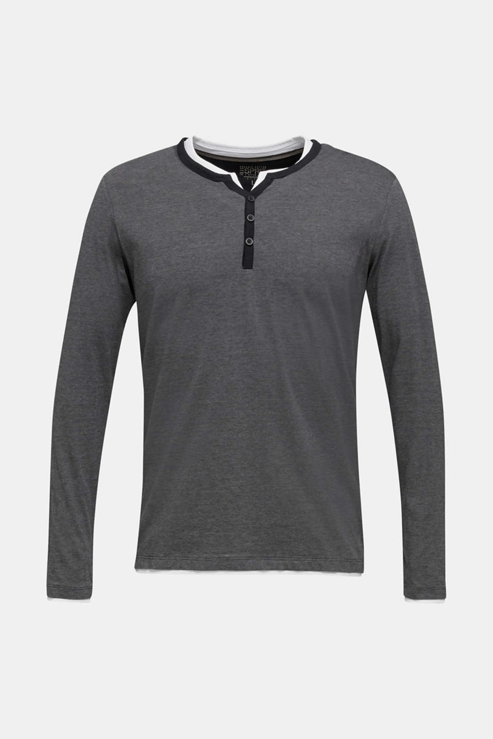 Long sleeve jersey top in 100% cotton, BLACK 3, detail image number 6