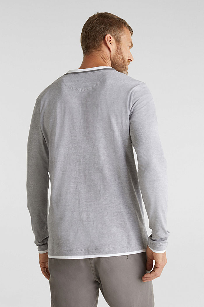 Long sleeve jersey top in 100% cotton, MEDIUM GREY, detail image number 3