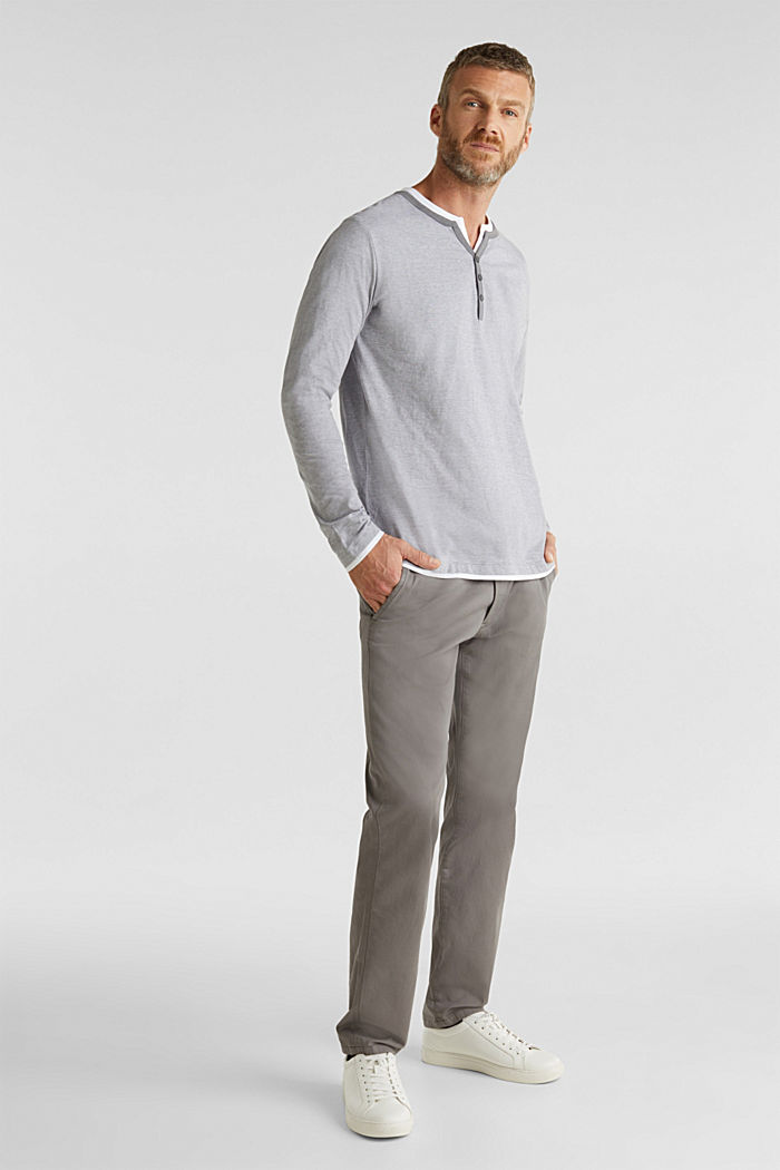 Long sleeve jersey top in 100% cotton, MEDIUM GREY, detail image number 2
