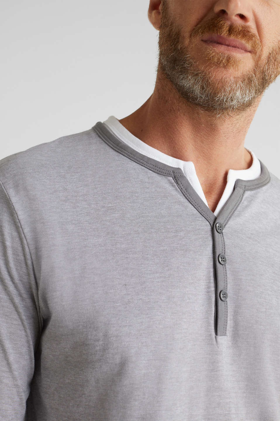 Long sleeve jersey top in 100% cotton, MEDIUM GREY 3, detail image number 1