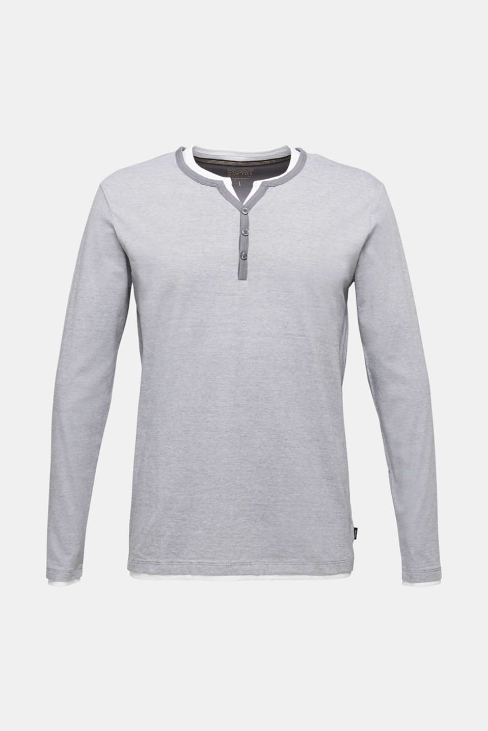 Long sleeve jersey top in 100% cotton, MEDIUM GREY 3, detail image number 6