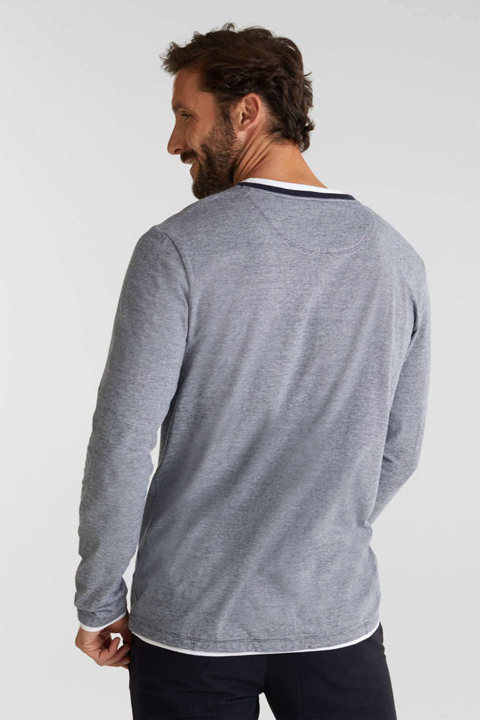 Long sleeve jersey top in 100% cotton, NAVY 3, detail image number 3