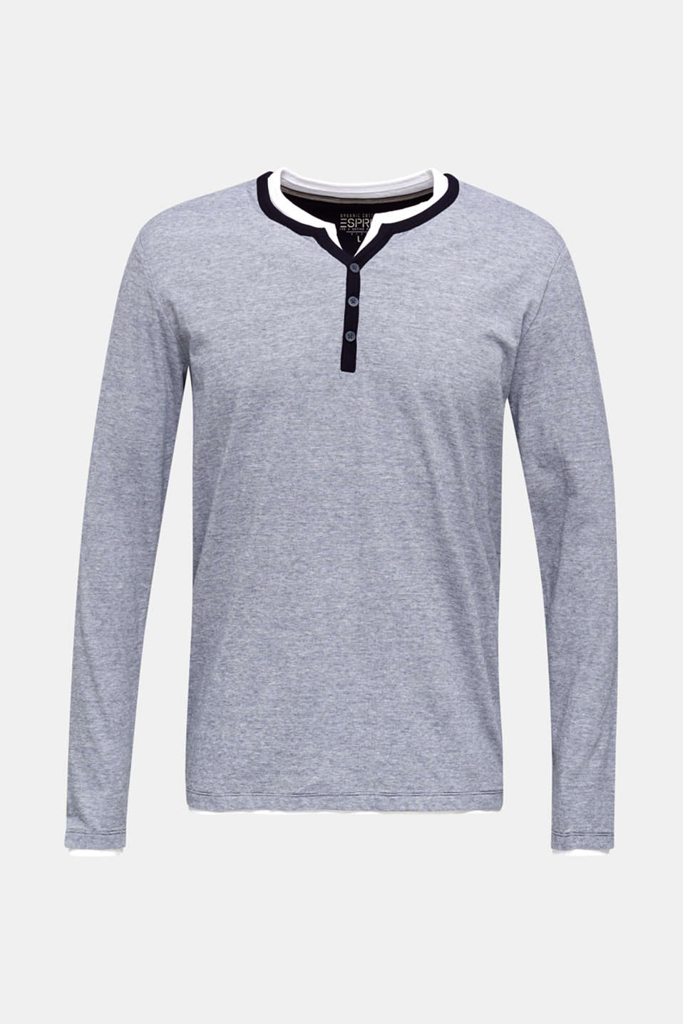 Long sleeve jersey top in 100% cotton, NAVY 3, detail image number 7