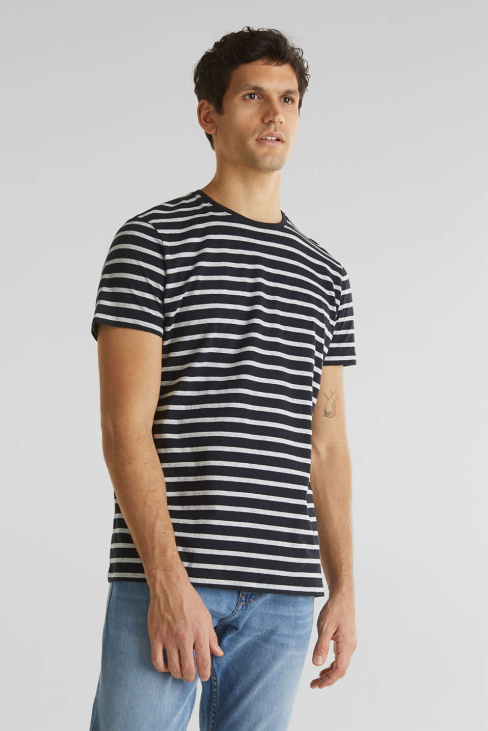 Striped jersey T-shirt in 100% cotton, BLACK 3, detail image number 0