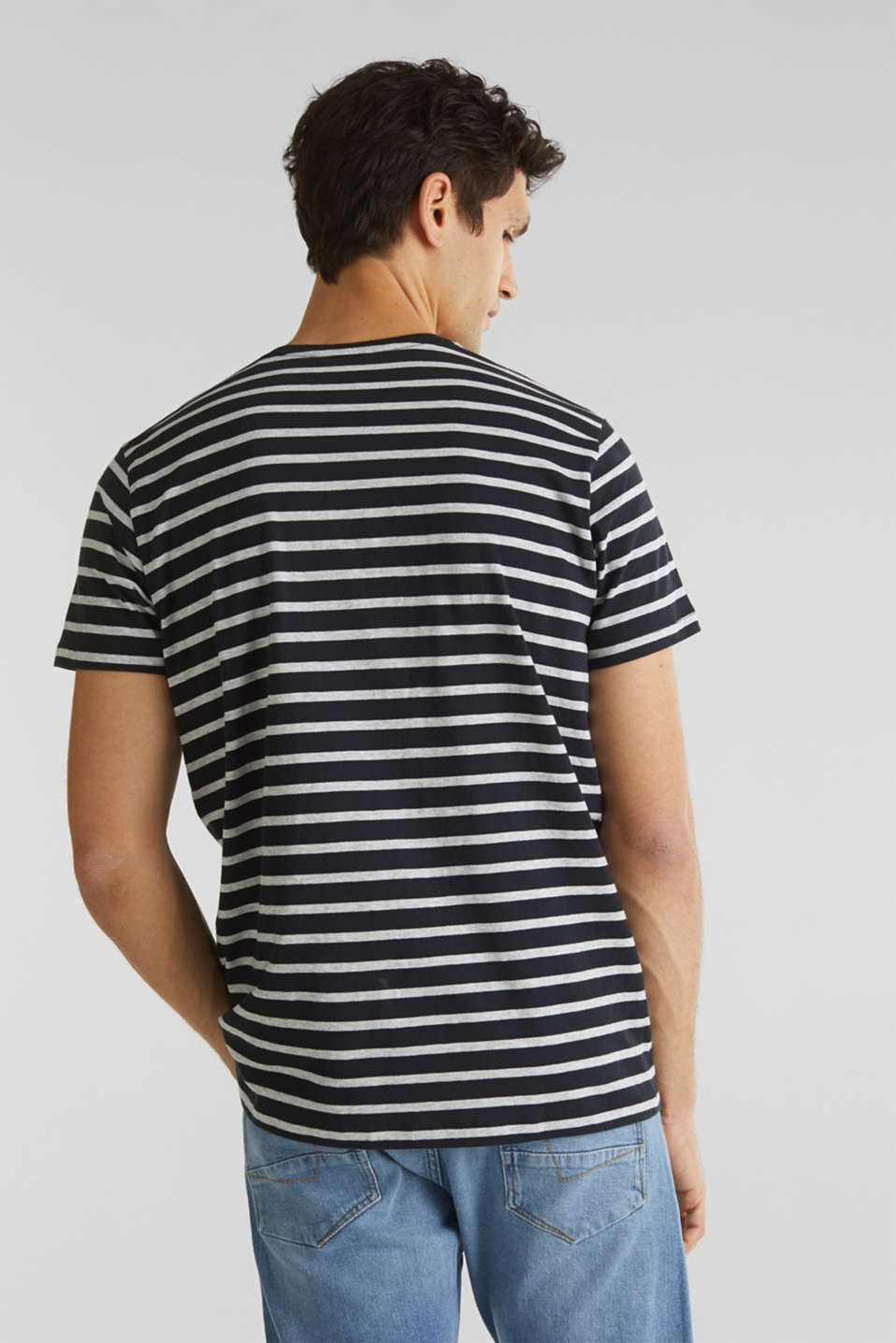 Striped jersey T-shirt in 100% cotton, BLACK 3, detail image number 3