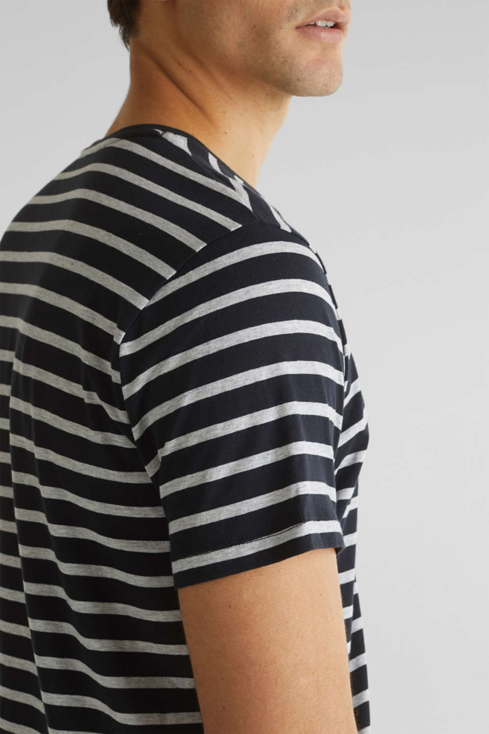 Striped jersey T-shirt in 100% cotton, BLACK 3, detail image number 1