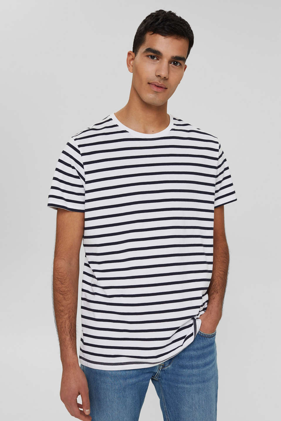 Striped jersey T-shirt in 100% cotton, WHITE 3, detail image number 0