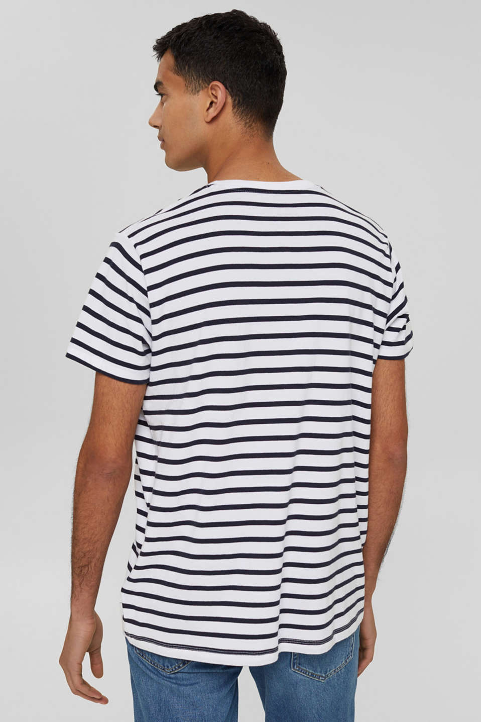 Striped jersey T-shirt in 100% cotton, WHITE 3, detail image number 3