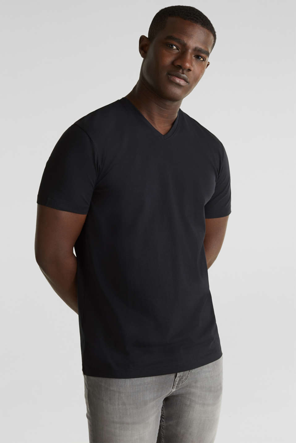 Jersey T-shirt in stretch cotton, BLACK, detail image number 4