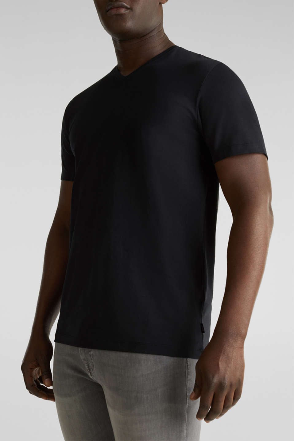 Jersey T-shirt in stretch cotton, BLACK, detail image number 6