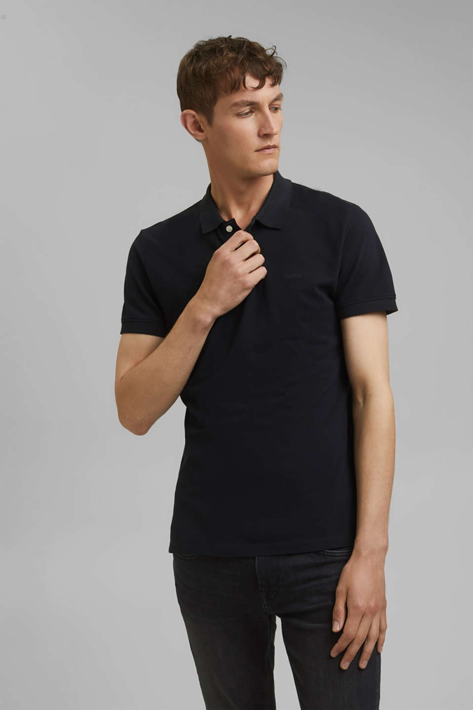 Piqué polo shirt in 100% cotton, BLACK, detail image number 0