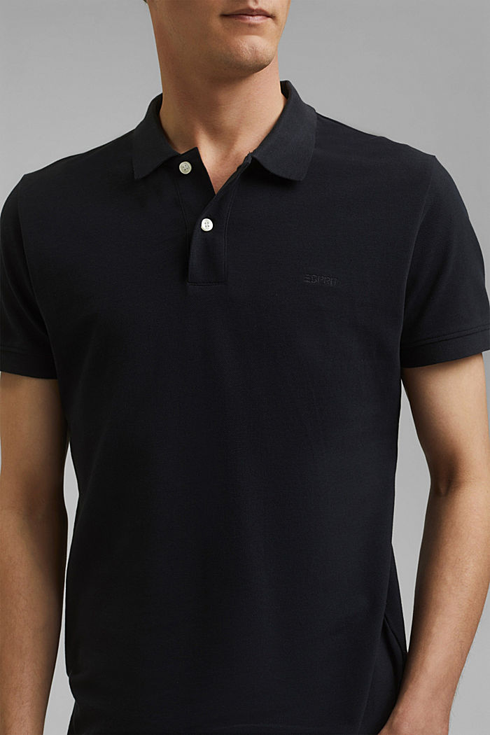Piqué polo shirt in 100% cotton, BLACK, detail image number 1