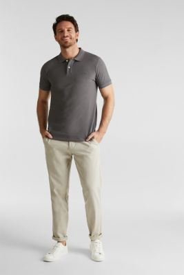 Piqué polo shirt in 100% cotton, DARK GREY, detail