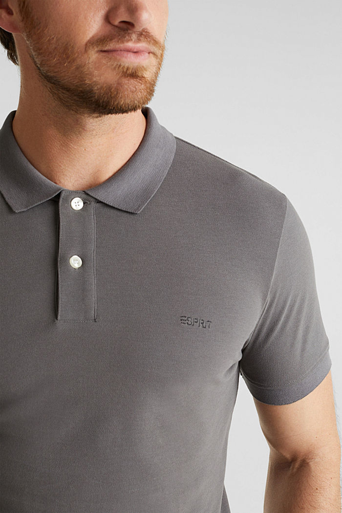 Piqué polo shirt in 100% cotton, DARK GREY, detail image number 1