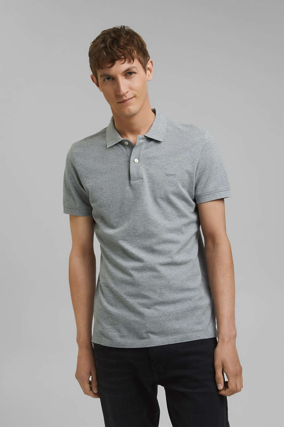 Piqué polo shirt in 100% cotton, MEDIUM GREY, detail image number 0
