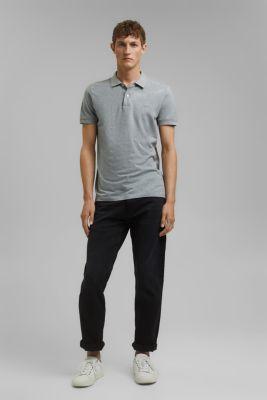 Piqué polo shirt in 100% cotton, MEDIUM GREY, detail