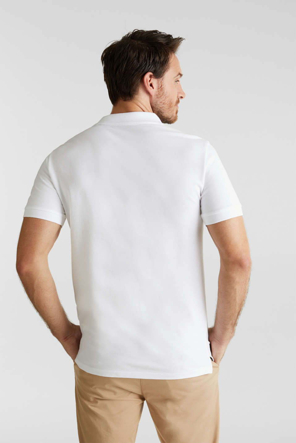 Piqué polo shirt in 100% cotton, WHITE, detail image number 3