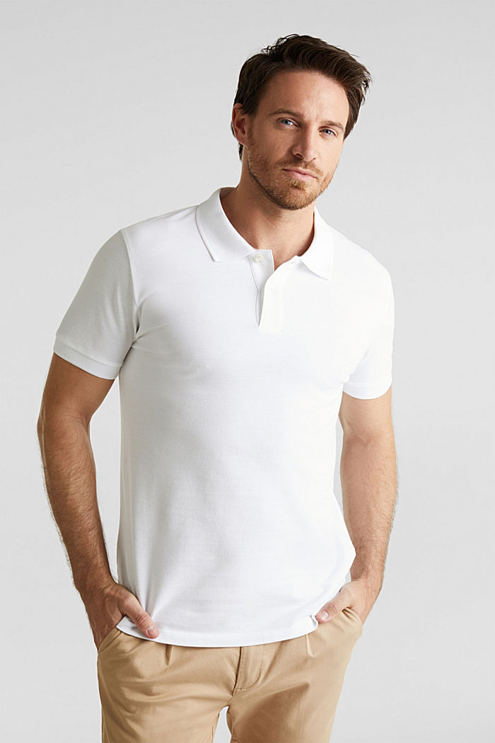 Piqué polo shirt in 100% cotton, WHITE, detail image number 4