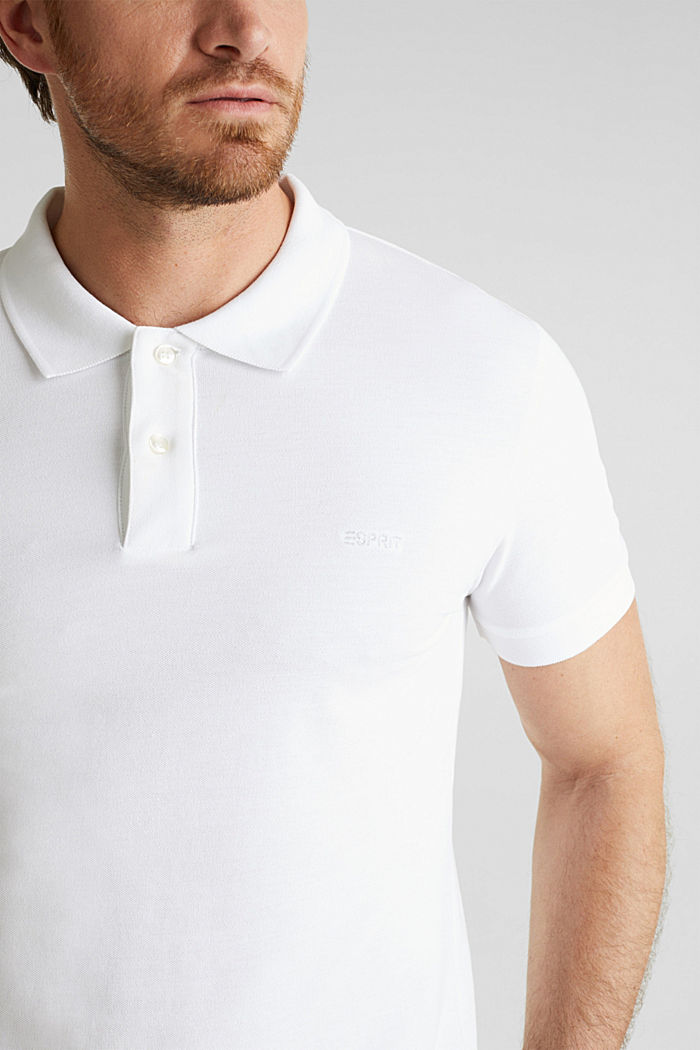 Piqué polo shirt in 100% cotton, WHITE, detail image number 1