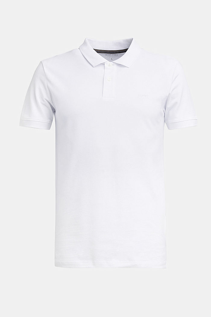 Piqué polo shirt in 100% cotton, WHITE, overview
