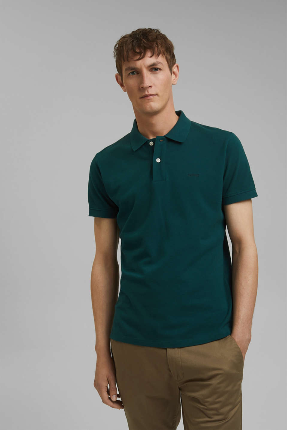 Piqué polo shirt in 100% cotton, DARK GREEN, detail image number 0