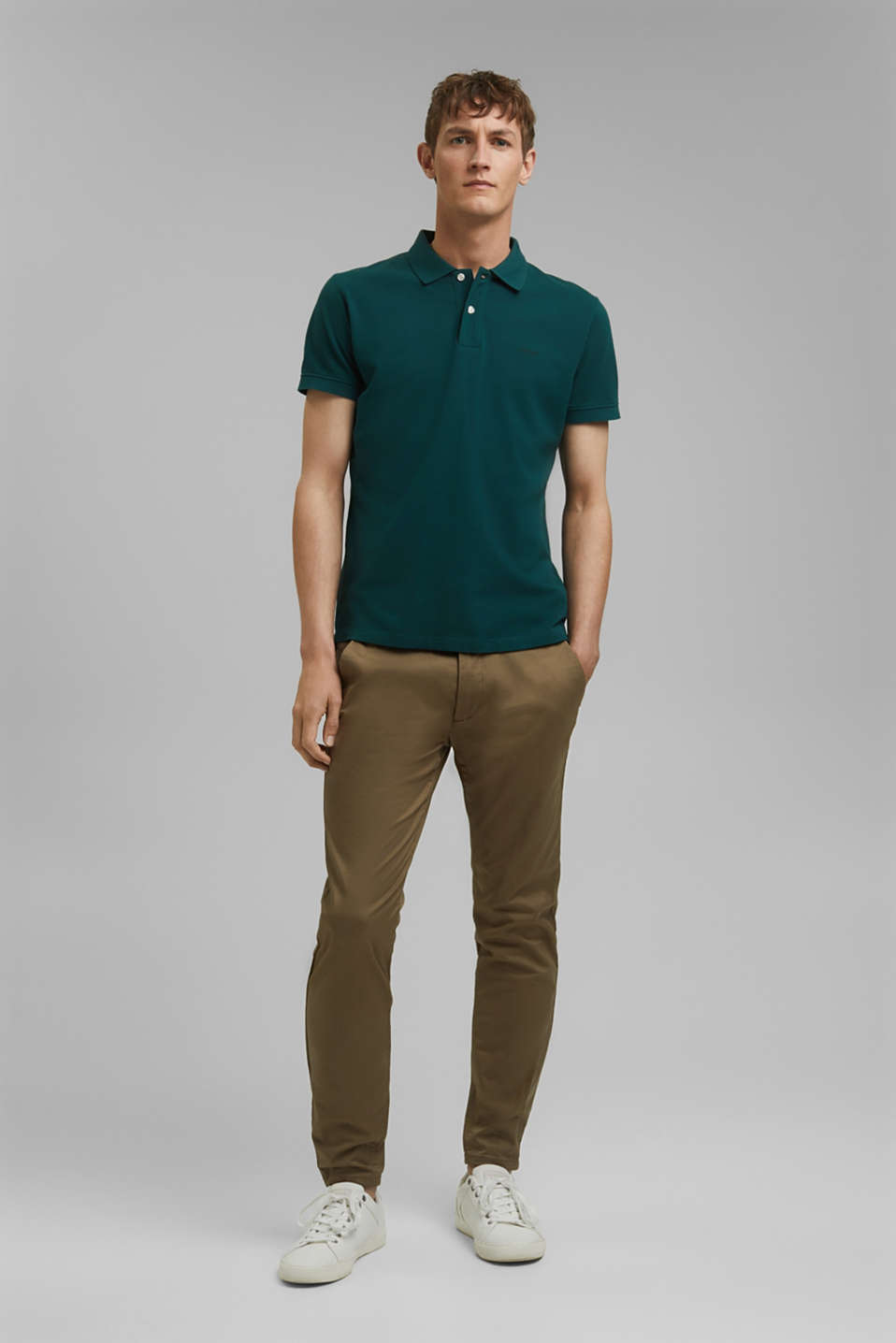 Piqué polo shirt in 100% cotton, DARK GREEN, detail image number 2
