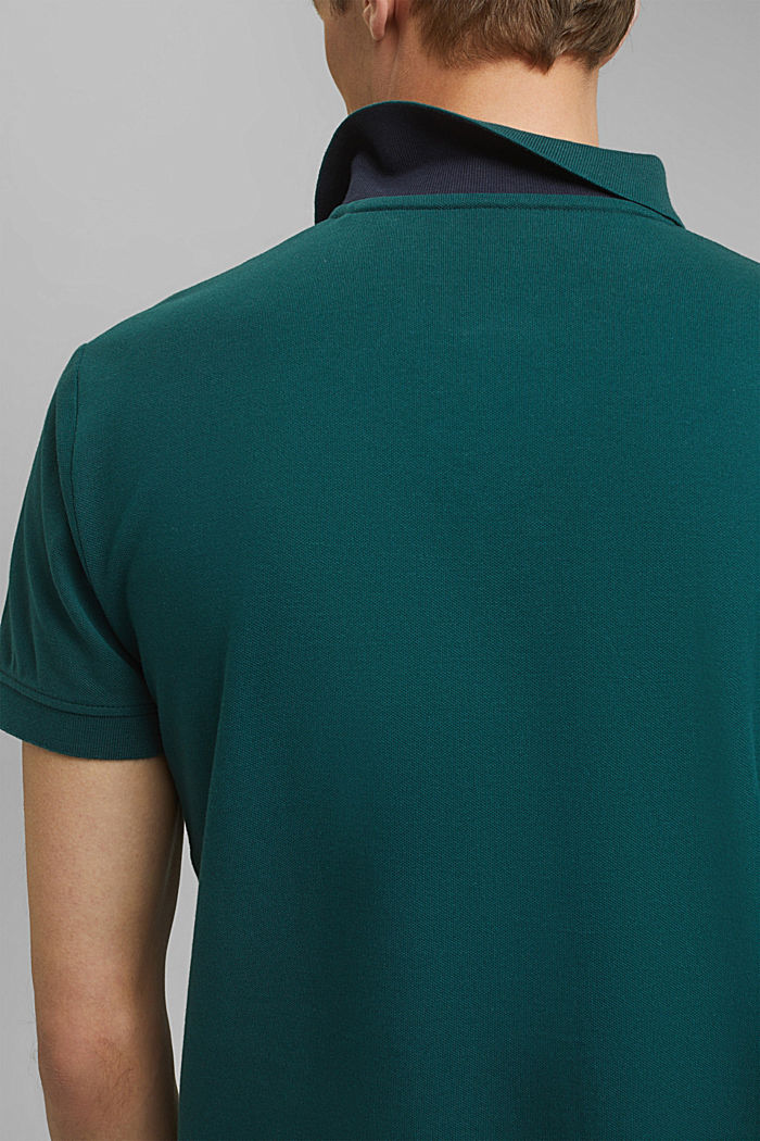 Piqué polo shirt in 100% cotton, DARK GREEN, detail image number 1