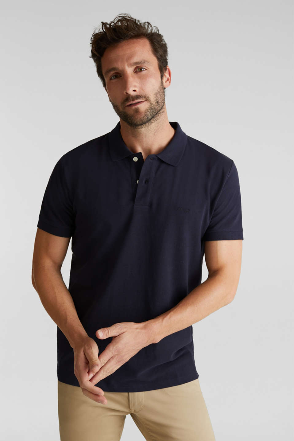Esprit - Piqué polo shirt with contrasts, 100% cotton