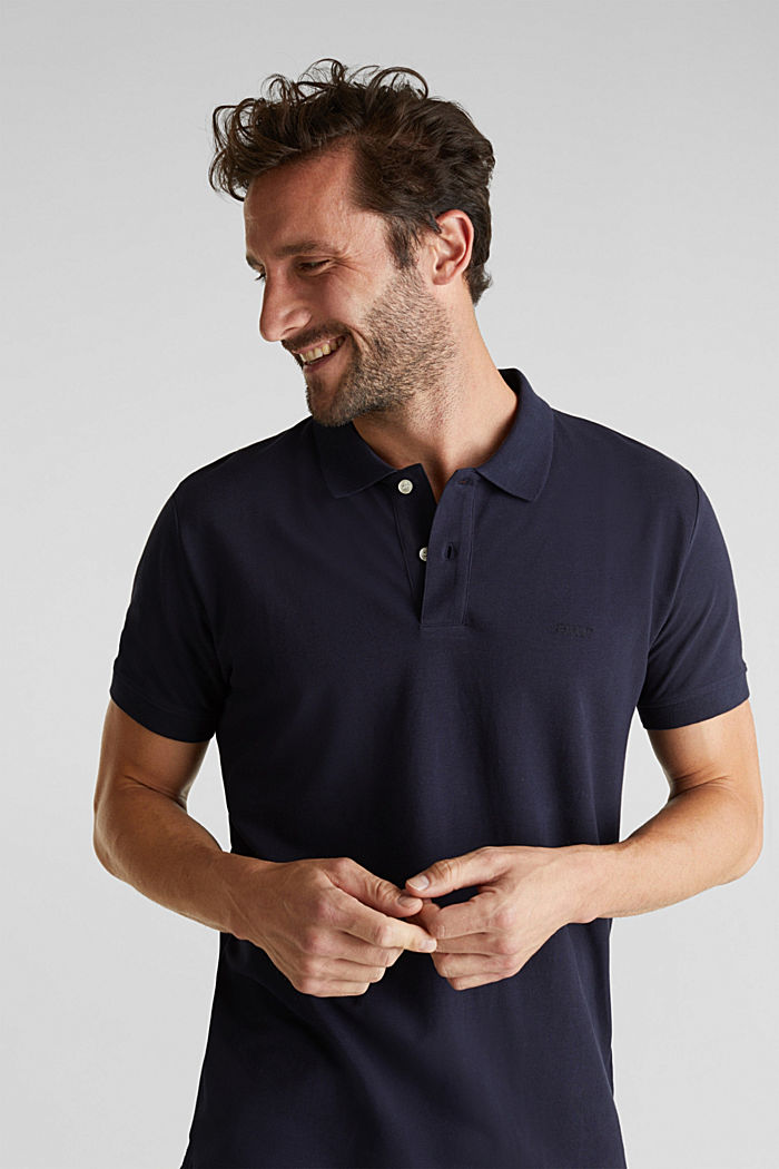 Piqué polo shirt in 100% cotton, NAVY, detail image number 4