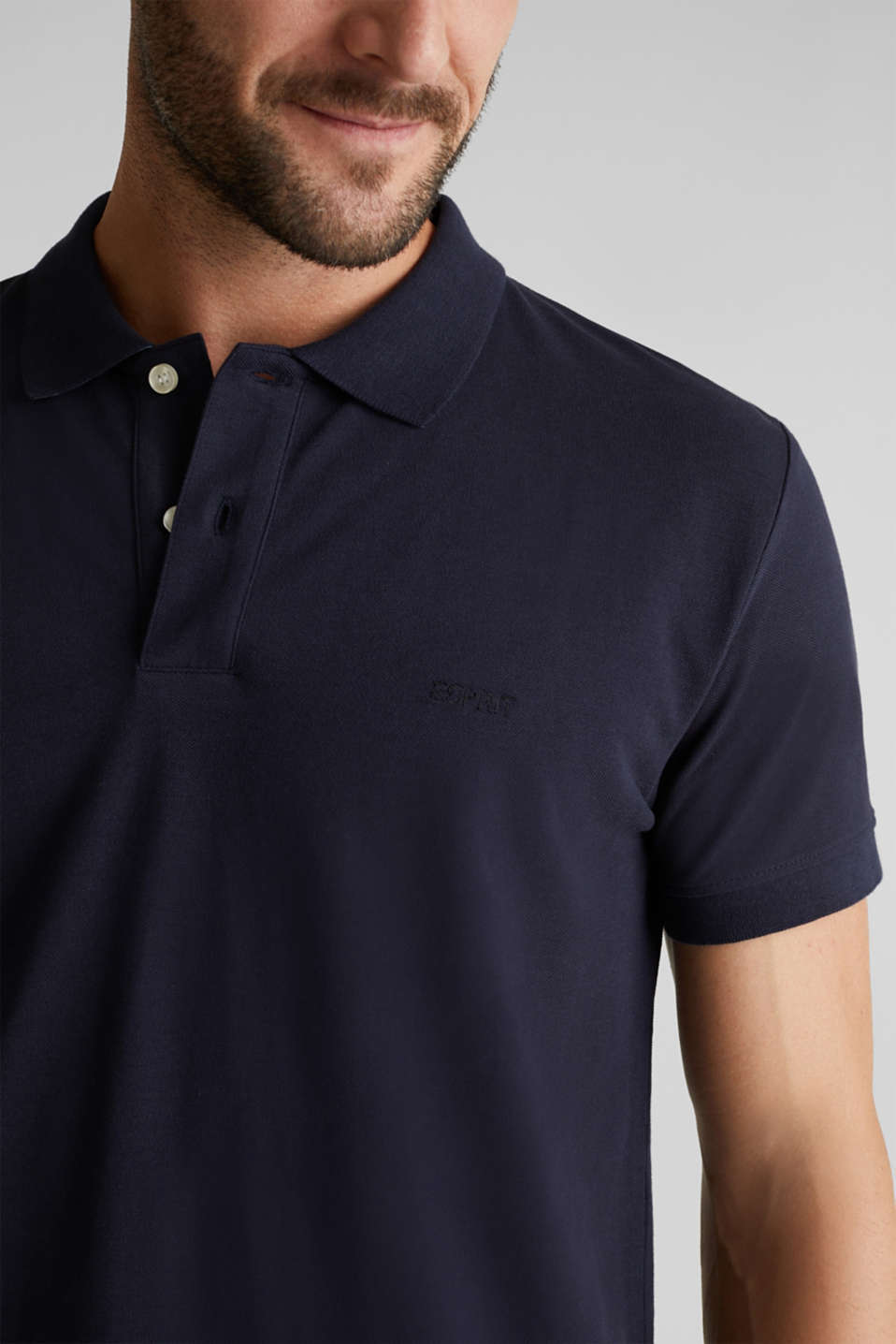 Piqué polo shirt in 100% cotton, NAVY, detail image number 1
